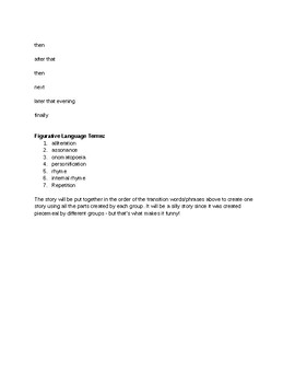 Figurative Language Terms and Transition Phrases group activity