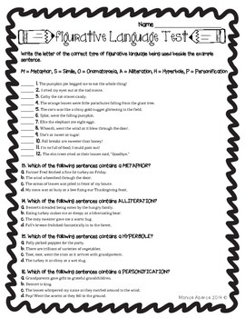Figurative Language Test {L.4.5 and L.5.5}