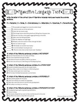 Figurative Language Test {L.4.5 and L.5.5}
