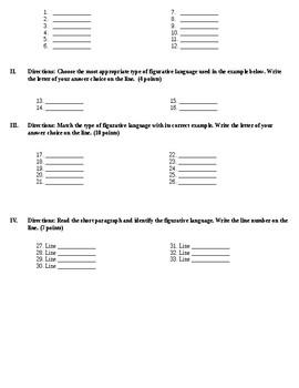 Figurative Language Test/Quiz