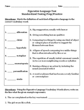 Figurative Language Test Review by Christine Delesandro | TpT