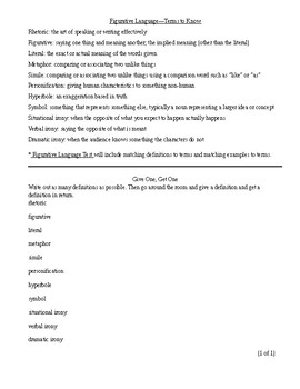Figurative Language Test (and Activities)