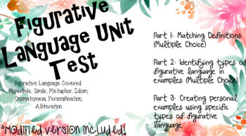 Figurative Language Unit Test With Modified Version