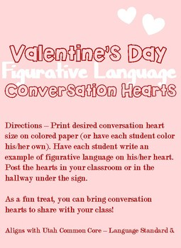 Figurative Language Valentine Activity