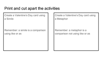 Figurative Language Valentine's Day Card Activity