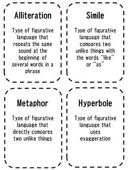 Figurative Language Vocabulary Bingo