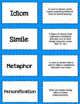 Figurative Language Vocabulary Cards - Task Cards, Flashcards, Games, Memory