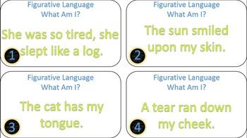 Figurative Language What Am I? Task Cards