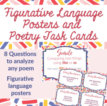 Figurative Language Word Wall Posters and Examples with Poetry Task Cards