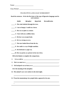 Figurative Language Worksheet by Rheanna Cherinchak | TpT