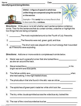 Figurative Language and Imagery Worksheet Set