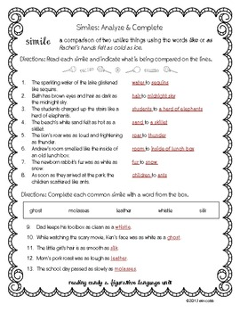 Figurative Language Worksheet Set of 12, Middle Grades for ...