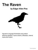 The Raven Figurative Language Worksheet - Grades 9-12