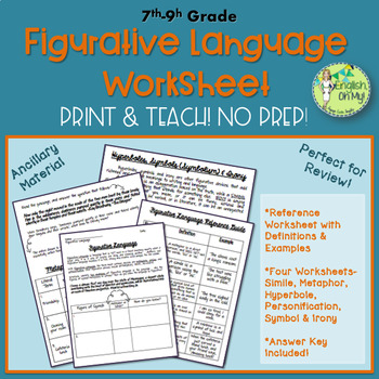 Figurative Language Worksheets, Author's Craft