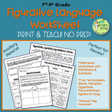 Figurative Language Worksheets, Author's Craft