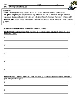 Figurative Language Worksheets - Independent Practice
