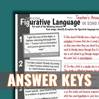 Figurative Language Worksheets {Name, Identify and Explain ...