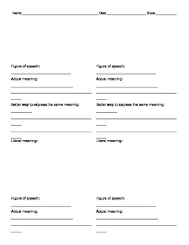 Figurative Language and Cliches Worksheet