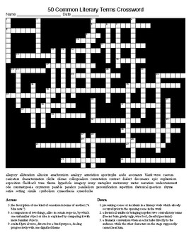Figurative Language and Literary Terms 50 item Crossword and KEY