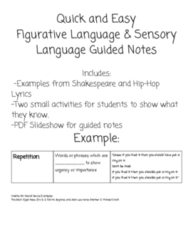 Figurative Language and Sound Devices Guided Notes and Activity