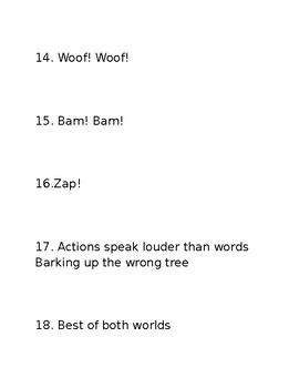 Figurative Language examples practice centers