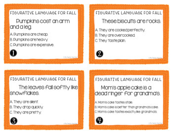 Figurative Language for Fall Task Cards for 4th - 5th Grade