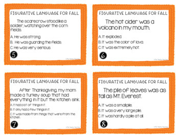 Figurative Language Task Cards for Fall | Figurative Language