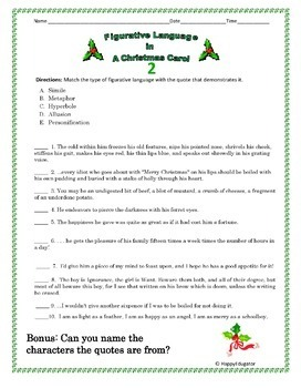 Figurative Language in A Christmas Carol Worksheets by HappyEdugator