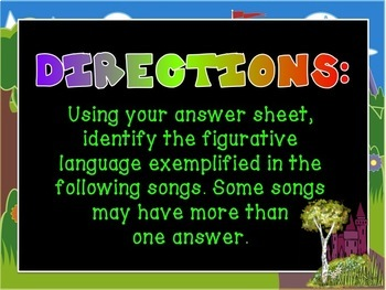 Figurative Language in Animated Film Songs PowerPoint