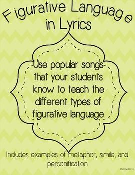 Figurative Language in Lyrics FREEBIE!!!!