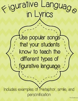 Figurative Language in Lyrics FREEBIE!!!!