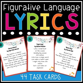 Figurative language in song lyrics task cards by first tries and figurative language in song lyrics task cards stopboris Image collections