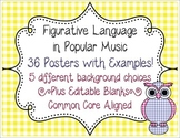 Figurative Language in Music Posters CCSS L.6.5-L.12.5 Simile Metaphor Idiom