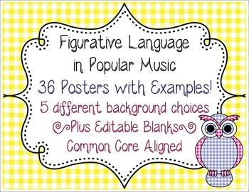 Figurative Language in Music Posters CCSS L.6.5-L.12.5 Simile Metaphor Idiom