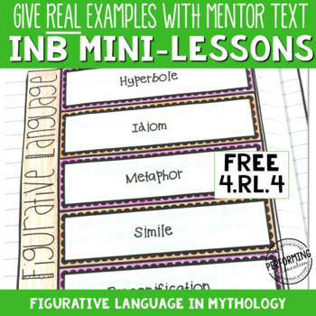 Interactive Notebook Pages 4th CCSS RL.4.4 Figurative Language in Mythology FREE