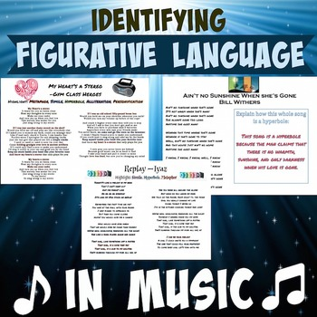Figurative Language In Popular Songs With Answer Key By Mskcpotter