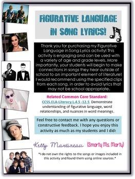 Figurative Language in Song Lyrics-CCSS Aligned!