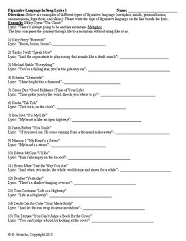 Figurative Language in Song Lyrics Worksheets
