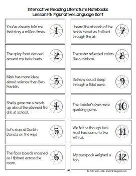 Figurative Language Interactive Notebook (Excerpt) Figurative Language in Lyrics