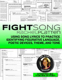 Figurative Language in Songs: Fight Song Activities Editable