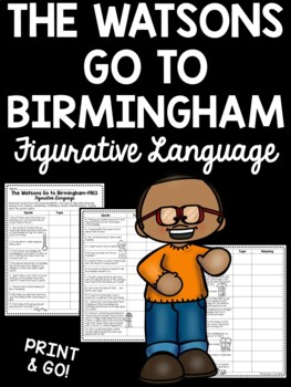 Figurative Language Worksheet in The Watsons Go to Birming