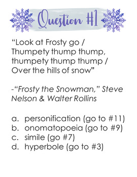 Figurative Language in Winter/Holiday Songs Question Trail: Engaging Activity