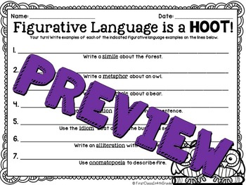 Figurative Language is a Hoot! (Forest Theme Literary Device Unit)