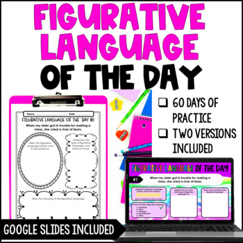 Figurative Language of the Day Printables {4th-5th Grade}