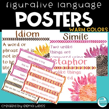 Figurative Language posters (Warm Colors)