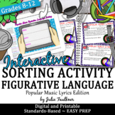 Figurative Language in Popular Songs Sorting Game, Printable and Digital