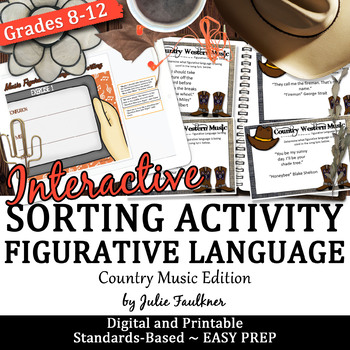 Figurative Language Interactive Review Game, Country Music Theme