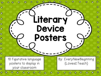 10 Figurative Language Literary Devices Posters Tpt