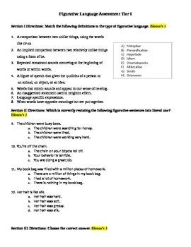Figurative Lesson Assessments