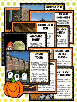 Distance Learning Figurative Speech Idiom of the Day Packet October Halloween
